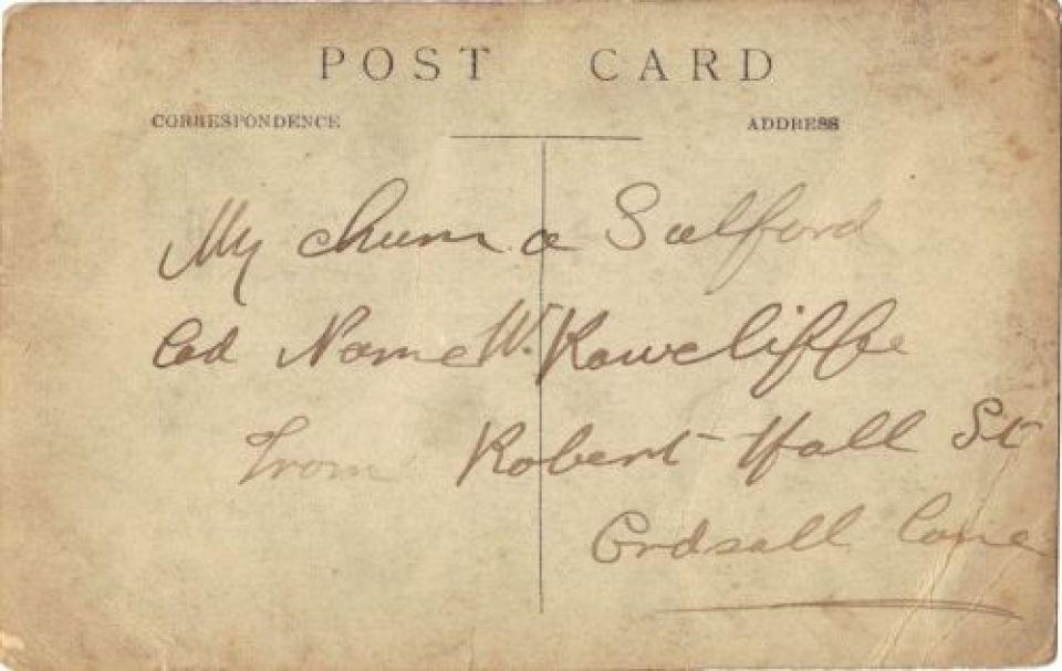 reverse of postcard from sailors on HMS Centurion