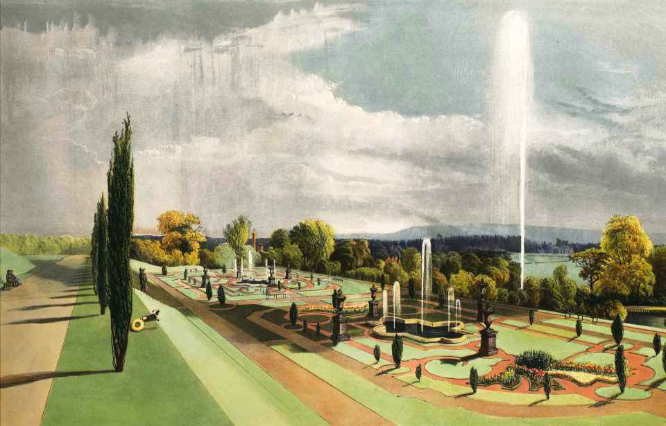 The Lower Terrace at Worsley: EA Brooke - The Gardens of England (1858)