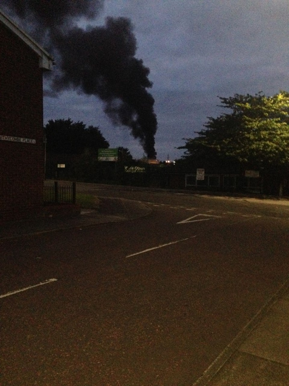Smoke from the fire  visible from Encombe Place, Salford - Jay Chapell