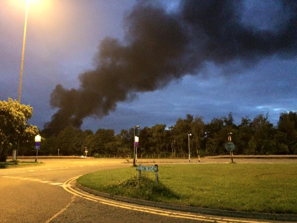 A view of the smoke from Bolton Road, Irlams o'th Height - Victoria Boon