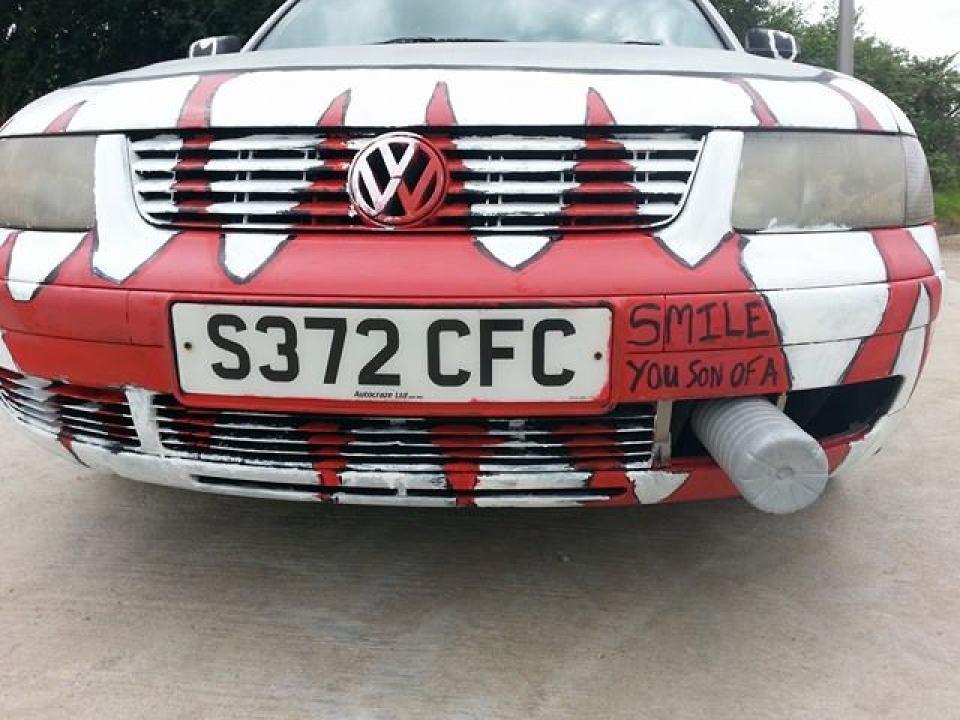 The team's VW Passat graffiti'd with a Thunderball motif