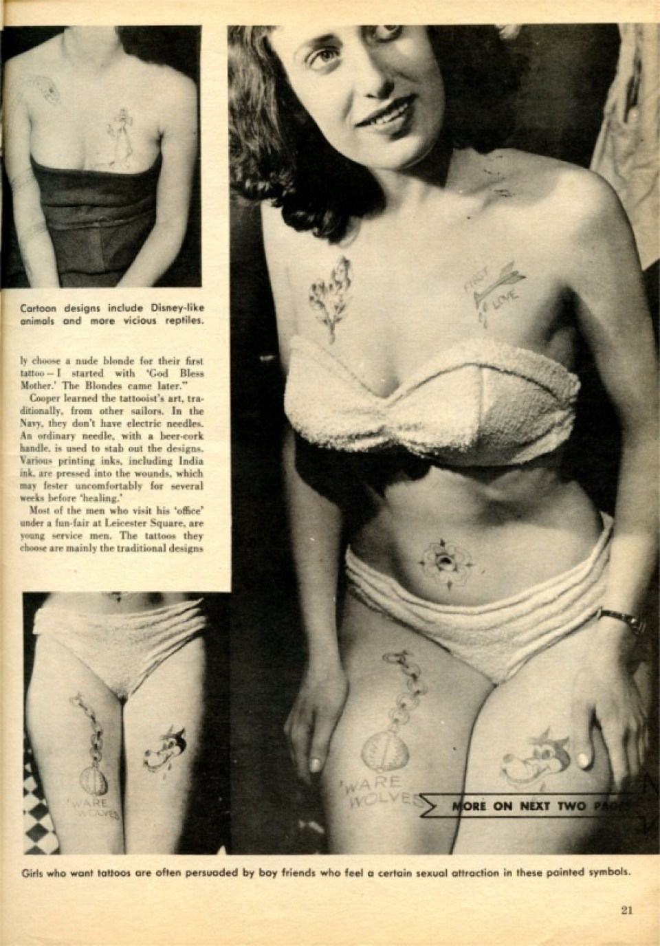 The media was scandalised by Cooper's tattooed women - 'Adventures as a Skin Artist', Men in Danger 1964