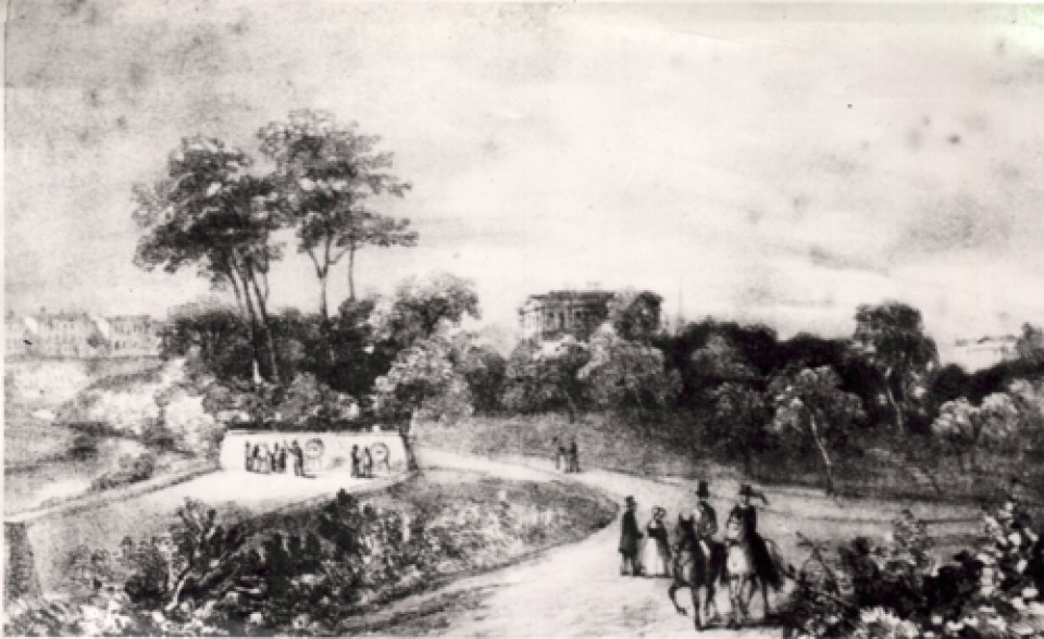 One of the earliest known images of Peel Park (lithograph) © Salford.Photos