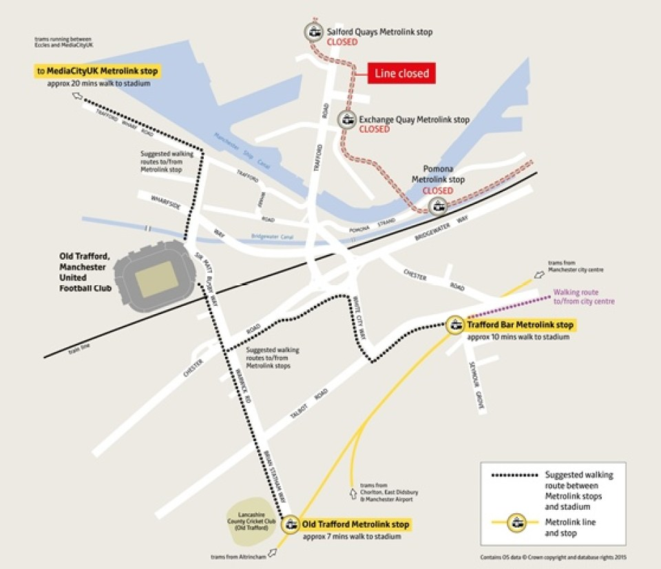 Metrolink published this map for football fans showing the closure of Eccles line tram stops