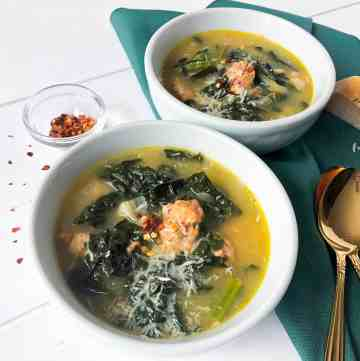 White bean kale soup with Italian chicken sausage