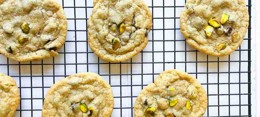 Gluten-Free Chocolate Chip Cookies with Pistachios and Rock Salt