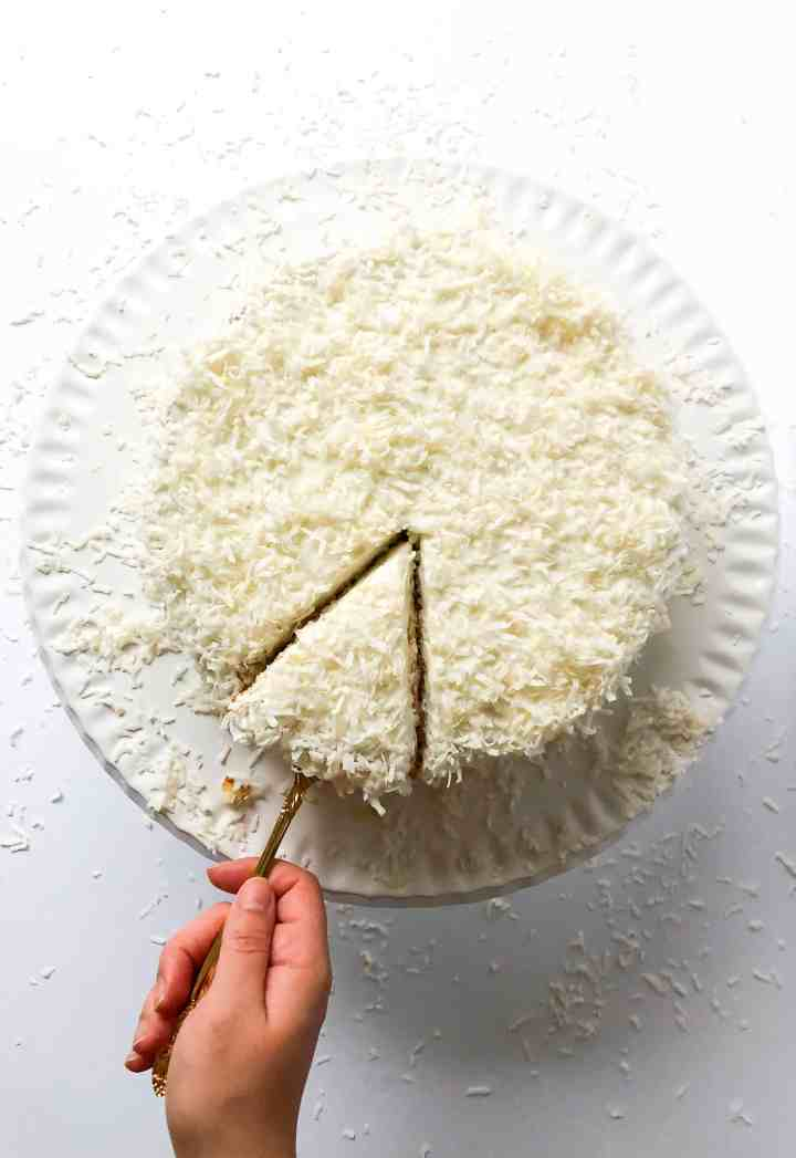 Gluten Free Vanilla Cake with Coconut Cream Cheese Frosting