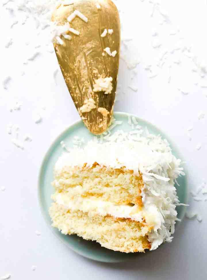 A gluten free vanilla cake with coconut.