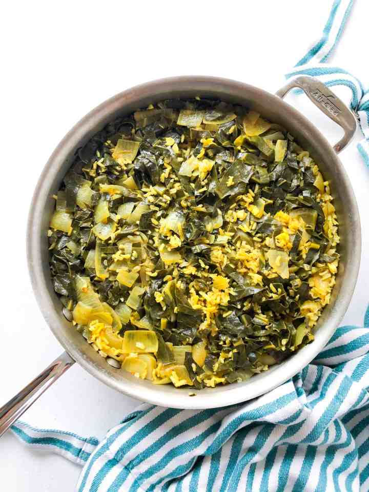 Moroccan Brown Rice Pilaf with Collard Greens