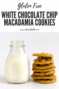 A stack of gluten free white chocolate chip macadamia nut cookies.