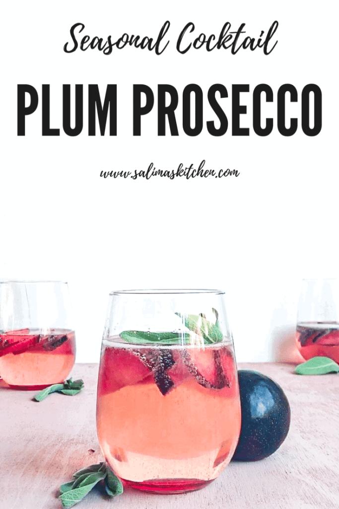 A trio of plum prosecco cocktails.