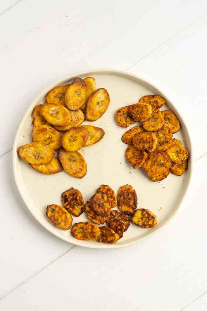 A bowl of air fryer plantain chips.