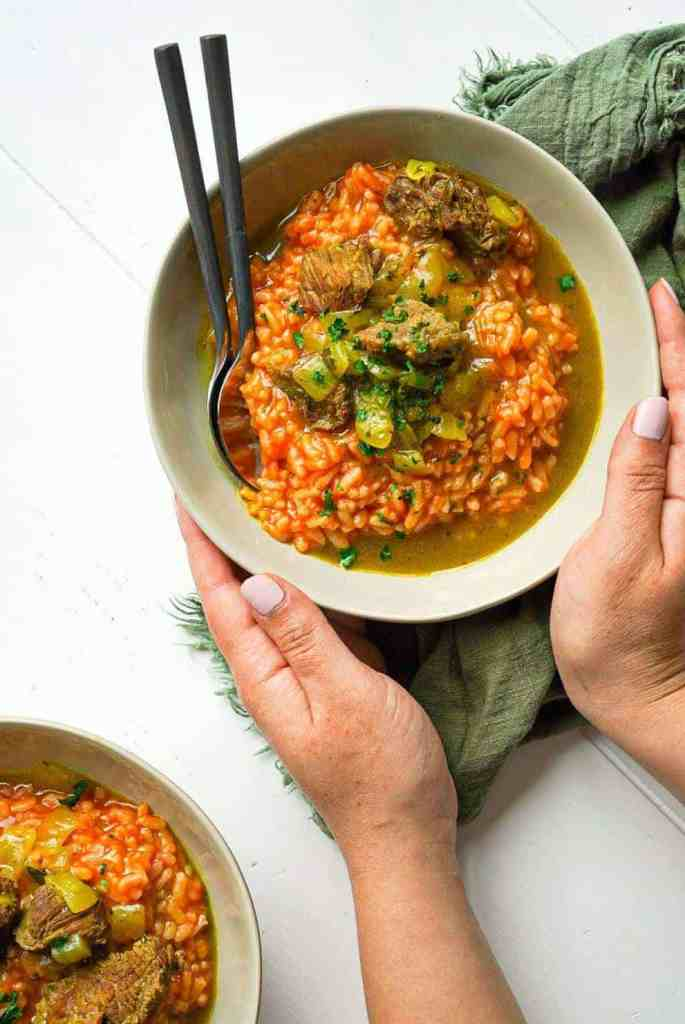 A plate of Moroccan Lamb Risotto.