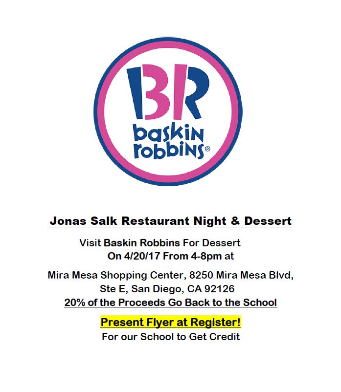 2017.04.20 - Jonas Salk Restaurant Night baskin robbins