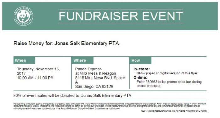 2017.11.16 - Jonas Salk ES Nov Restaurant Night