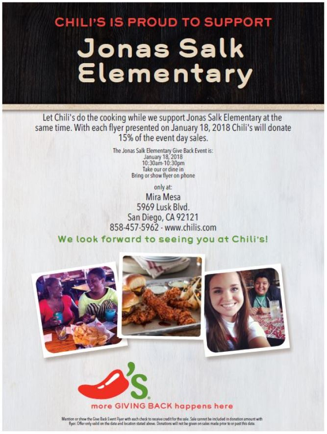 2018.01.18 - JSES Chili's Restaurant Night flyer