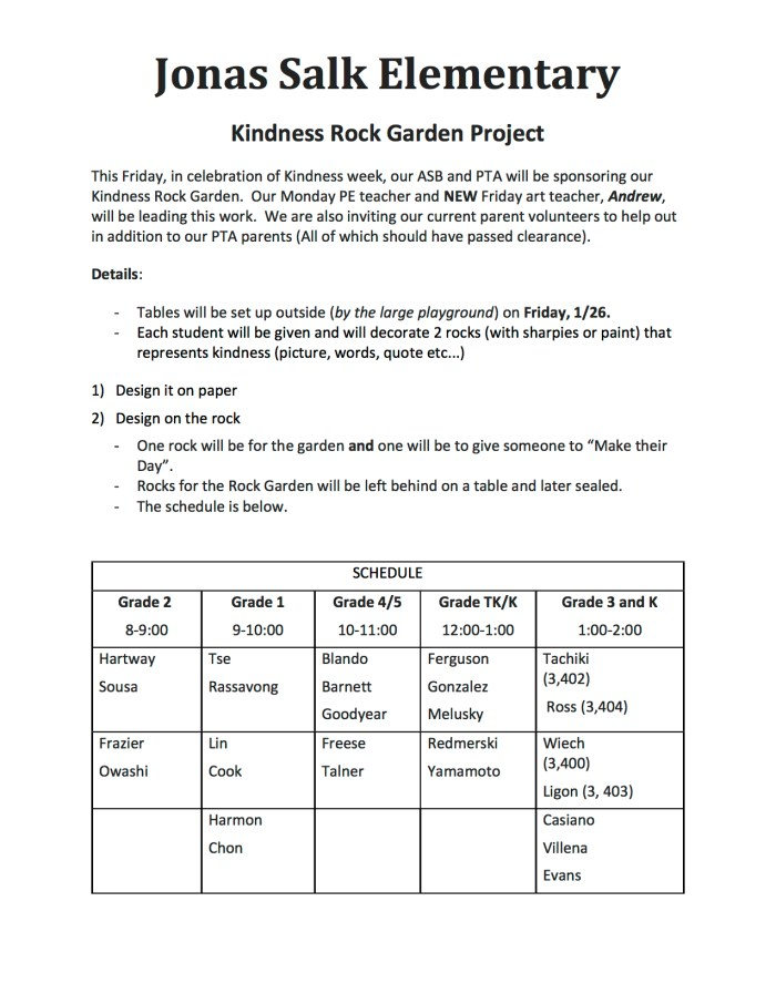 2018.01.26 - Jonas Salk Elementary Kindness Rock Garden Project