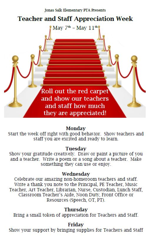 2018.05.07 to 2018.05.11 - JSES Teacher and Staff Appreciation Week
