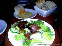 Salad w/creamy balsamic, warm bread with olive oil dipping sauce