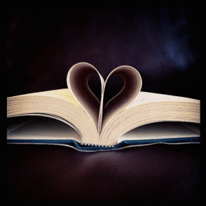 "A book heart from the pages of ""The Enchanted Wanderer,"" which, in a way, is a great way to describe reading..."