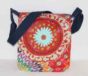 Small Messenger Bag in Red Funky Fabric