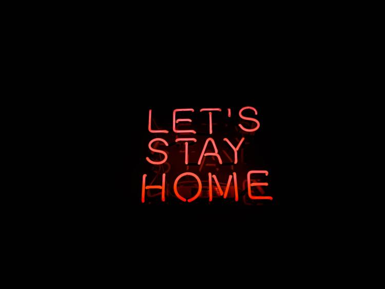 Black backdrrop Neon light Red Let's Stay Home