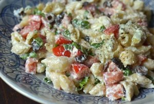 Roasted Garlic. tomato.pasta salad