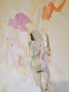 drawing of a nude woman on a coloring book page