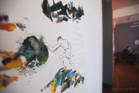 drawing and abstract prints on white background