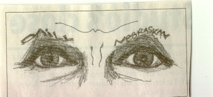 """drawing of eyes with the word """"Nebraska"""" in the eyebrow"""