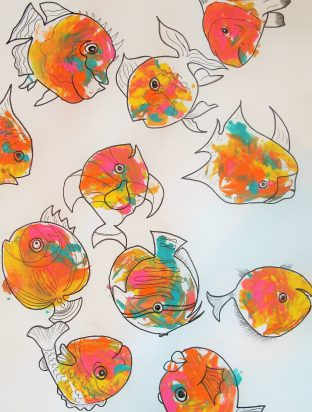 breast prints turned into multiple fish in orange, red, pink, and other colors
