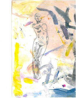 drawing of a nude woman on a background covered in yellow and black abstract marks