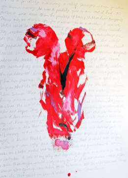 abstract painting of two women in red and pink