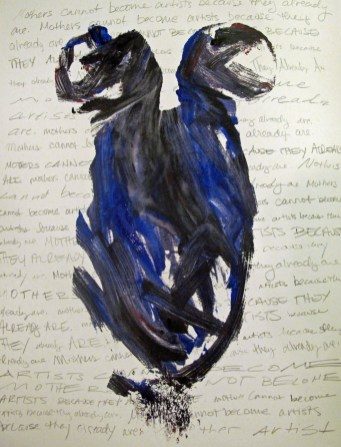 abstract painting of two women in black and blue