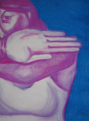 painting of a woman in pink on a blue background