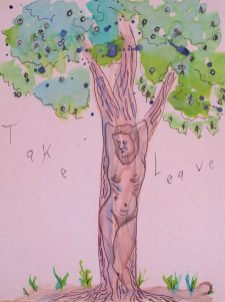 drawing of a nude woman leaning against a tree trunk