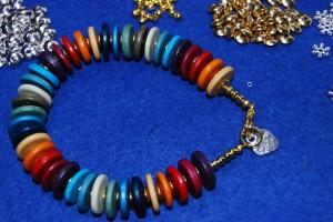 Ceramic large disc bracelet Rainbow