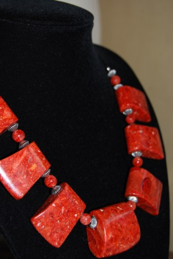 Beads – Pressed Coral 'axehead bead/pendant