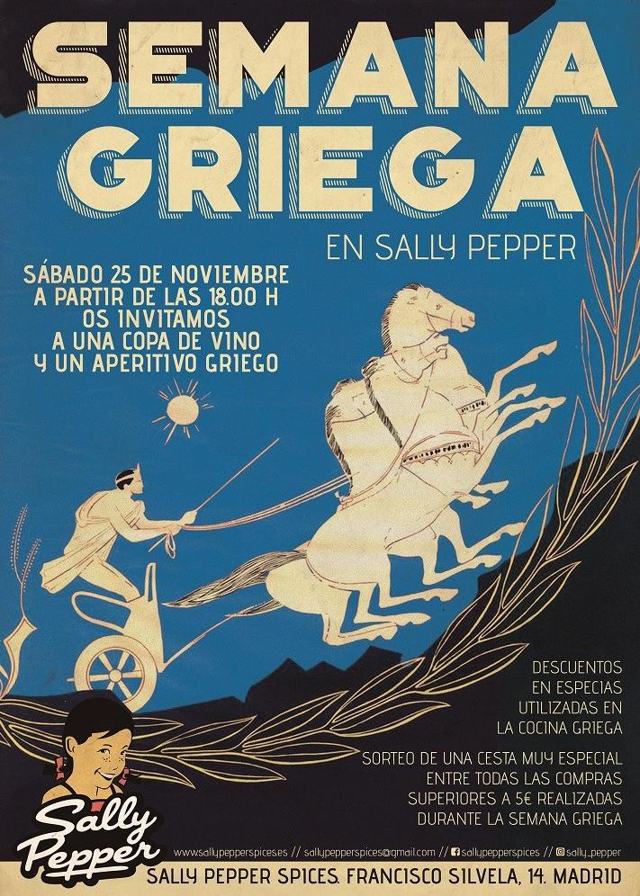 Sally Pepper-Spices-Tienda-Especias-salsas picantes-chiles-Madrid-semana-griega-cartel-711 x 1000