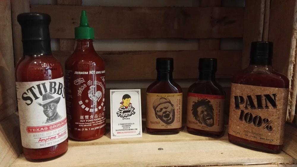 Sally Pepper-Spices-Tienda-Especias-salsas picantes-chiles-Madrid-comprar- Pain is Good-sriracha-Huy Fong's-stubb's-texas-louisiana-Jamaica-