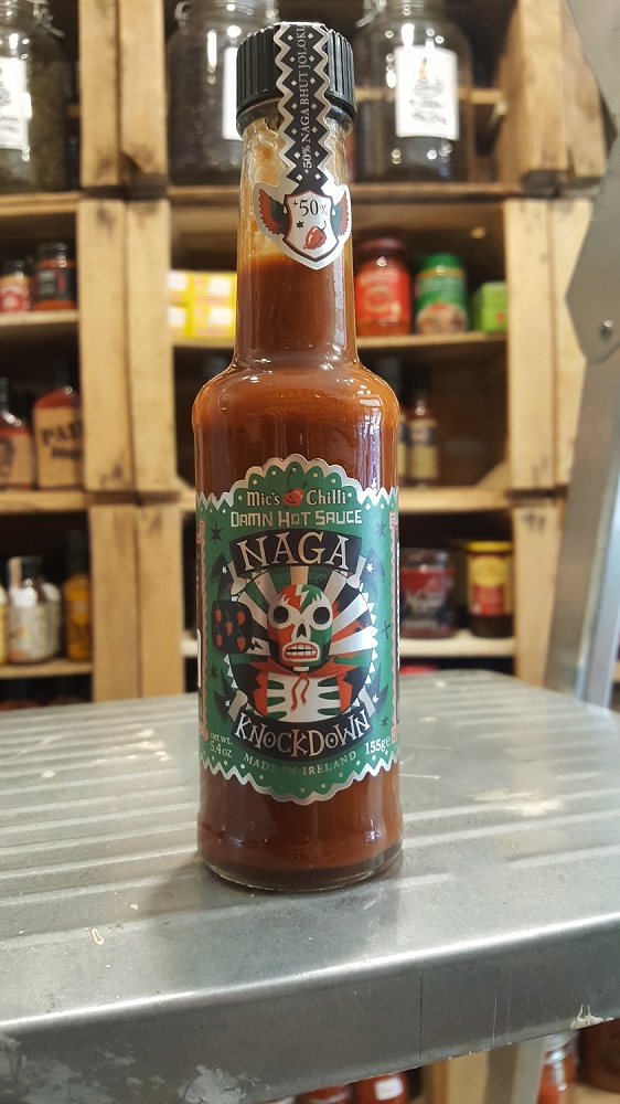 Botella de Salsa Picante Mic's Chilli-Naga Knockdown en la tienda de especias Sally Pepper Spices Madrid