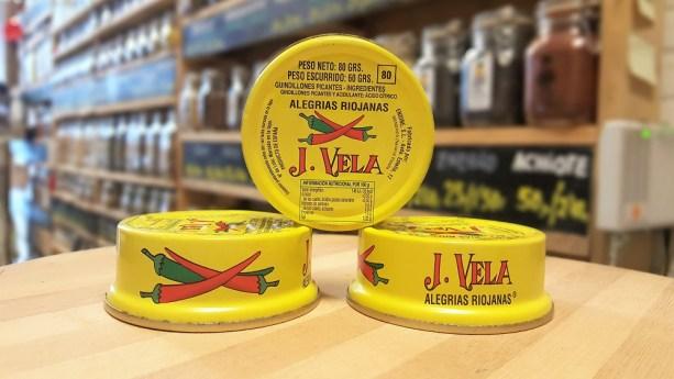 Tres latas de Alegrías Riojanas J.Vela, en Sally Pepper la tienda de especias, Chiles y salsas picantes en Madrid
