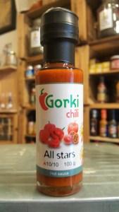Salsa picante Gorki Chili All Stars. En la tienda de especias, chiles y salsas picantes Sally Pepper.
