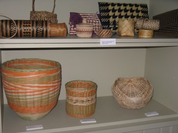 Three cane baskets
