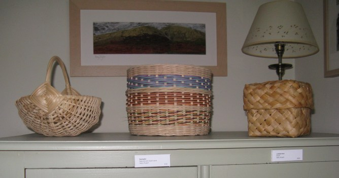 cane/dyed cane and rush baskets