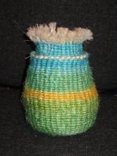 twined pot using dyed hemp