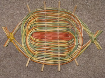 dyed and natural cane platter