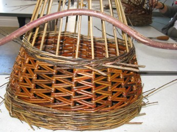 partially made willow basket