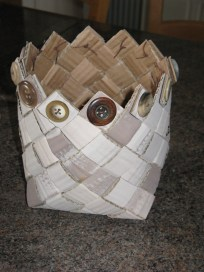 painted plaited cardboard basket