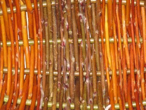 Close up of willow basket weave